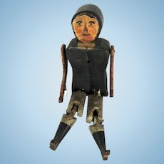 19th C Folk Art Stick Wooden Jointed Man Walking Toy