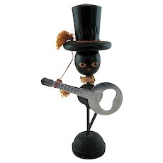 Ideal Mid-Century Man Top Hat Banjo Magnetic Bottle Opener Holder