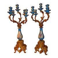 French Cast Louis XIV Sevres Style Porcelain Candelabras