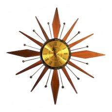 Mid Century Teak Westclox Starburst Wall Clock