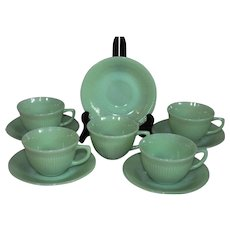 Fire King Jadeite Jane Ray Ribbed Cups & Saucers