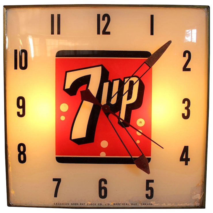 7 up light up wall clock sweet cs collectibles ruby lane 7 up light up wall clock aloadofball Image collections