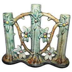 Weller Woodcraft Apple Tree Triple Bud Vase