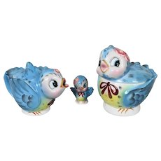 Lefton Bluebird Cookie Jar Teapot & Shaker