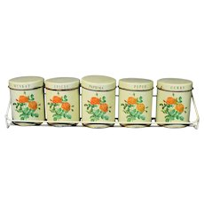 Vintage 6 Can Spice Set With Rack