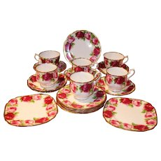 Royal Albert Old English Rose Cups Saucers +Bread & Butter Plates