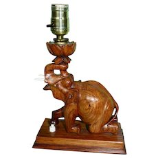Hand Carved Elephant Table Lamp