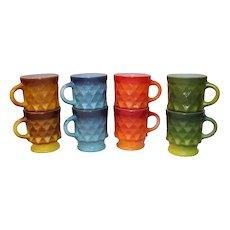 Fire King Anchor Hocking Kimberly Diamond Pattern Coffee Mugs