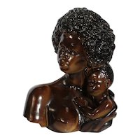 V. Kendrick Modernist SCULPTURE BUST African American Mother Child