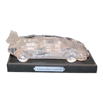LAMBORGHINI COUNTACH Glass Paperweight w/Stand, Hofbauer, W. Germany