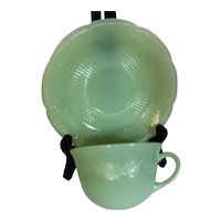 Fire King Jadeite Alice Cup & Saucer Plus Plates