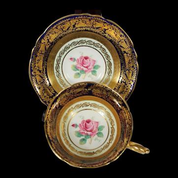 Paragon Cobalt Blue Cabbage Rose Cup & Saucer