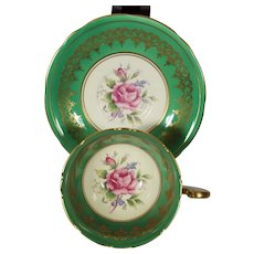 Aynsley Green Cabbage Rose Cup & Saucer