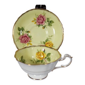 Paragon Yellow Cabbage Roses Cup & Saucer