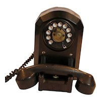 Art Deco Bakelite Rotary Wall Telephone