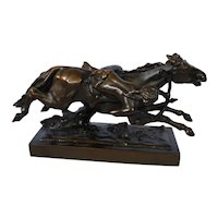 Cold Painted Bronze Statue Of Plains Indian On Horseback