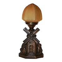 Art Deco Figural Windmill Lamp