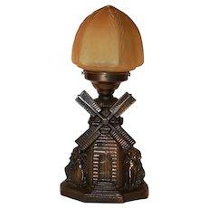 Art Deco Figural Windmill Lamp