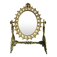 Vintage Gilt Brass Vanity Mirror