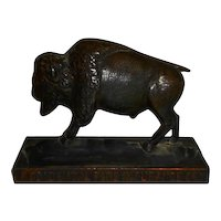 Occidental Fire Insurance Coy Cast Buffalo Paperweight