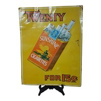 Sunshine Cigarettes Tin Litho Sign