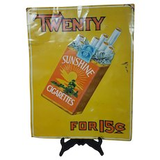 Sunshine Cigarettes Tin Litho Sign