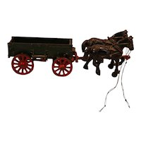 Arcade Cast Iron McCormick Deering Horse Drawn Wagon