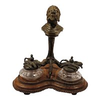 Antique Satyr Cigar Lighter Inkwell Stand