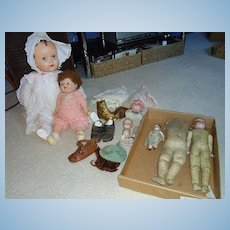 Lot of Vintage Dolls and Parts Armand Marseille, Nippon, Kestner