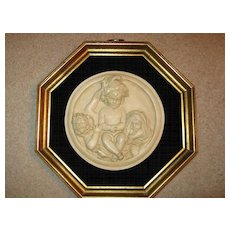 E.W. Wyon Signed Parian Ware Framed Plaque with Children
