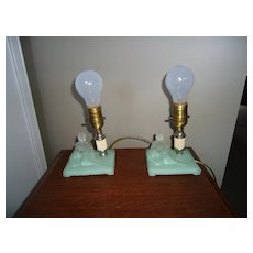 Art Deco Nude Green Glass Lamp