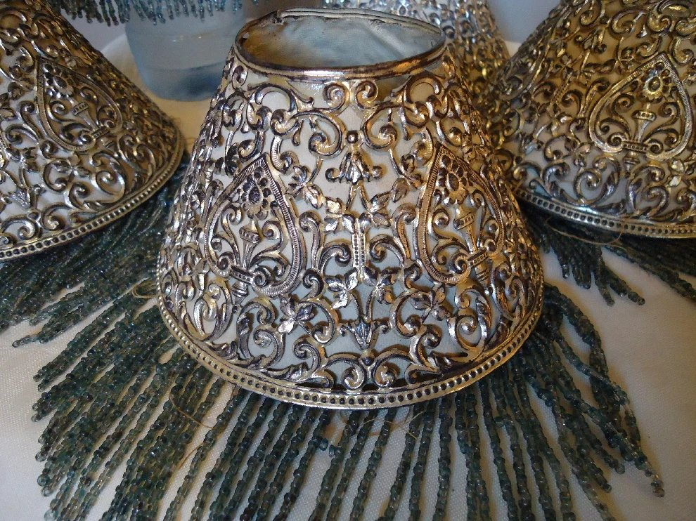 Beaded Lamp Shades Simple Miniature Filigree Beaded Lamp Shades SOLD Ruby Lane