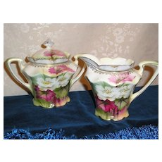 RS Prussia Red Mark Floral Cream & Covered Sugar Bowl Set