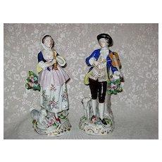 SITZENDORF Germany Pair of Unique Musician Man & Woman Porcelain Figurines