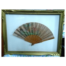 Antique French Silk Hand Painted Folding Fan