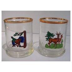 6 Vintage Barware Wildlife Glasses