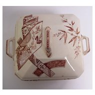 Aesthetic Movement Brown Transferware Covered Dish - England