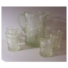 "Cambridge Near Cut ""Inverted Strawberry"" Lemonade/Water Set - 5 pieces - 1908"