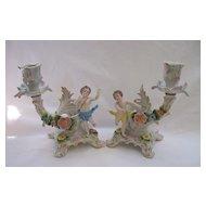 Vintage Sitzendorf - Pair of Porcelain Cherub Candlesticks -