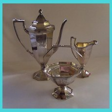 "Antique Silver Plate Meriden Coffee Set - Monogrammed ""B"""