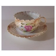 Victorian Hand Painted Cup & Saucer