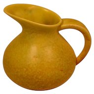 Vintage CROWN DEVON Art Pottery Pitcher - Mottled or Spattered Yellow Finish