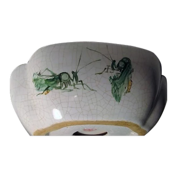 Vintage Oriental Ashtray - Crackle finish - Hand Painted Green Grasshoppers