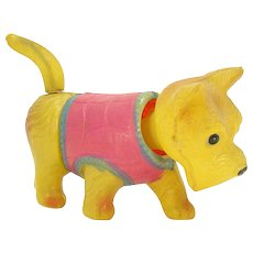 Celluloid Scottie Dog with Twirling Tail Wind-up Toy