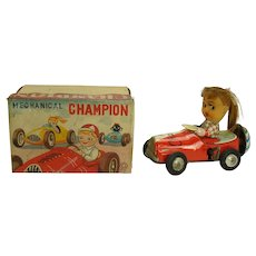 Champion Race Car Wind-up Toy with Girl Driver Bell Ringer - MIB