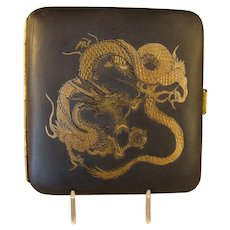 Women's Cigarette Case with Gold & Silver Inlay - 1920's