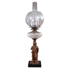 Miller Kerosene Lamp with Figural Boy with Cat - 1880's