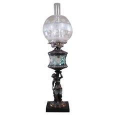 Figural Kerosene Lamp - Green Cut to Teal Fount - 1880's