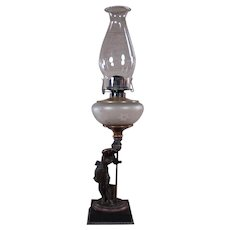 Kerosene Lamp with Figural Woman and Satin Fount - 1880's