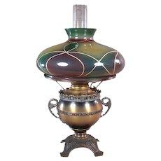 Miller Kerosene Banquet Lamp with Hand Painted Shade - All Original